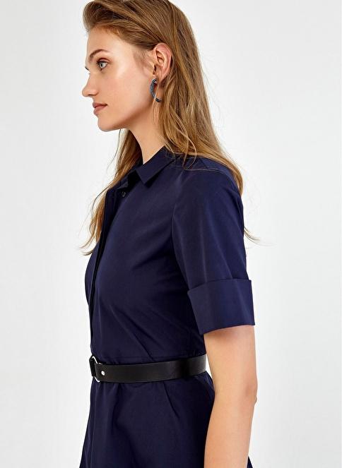 Ipekyol Gömlek Yaka Detaylı Kloş Elbise Lacivert